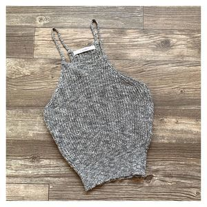 Dreamers Speckled Ribbed Knit High Neck Tank Top
